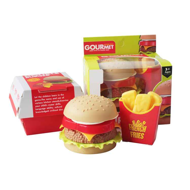 Cross-border Hot Children's Play House Kitchen Toys Simulation Seven-layer Small Hamburger Fries Set
