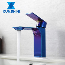 XUNSHINI Colorful PVD Blue Basin Faucet Brass Bathroom Faucet Vanity Vessel Sinks Mixer Tap Cold And Hot Water Tap basin faucets brass oil rubbed bronze black bathroom faucet deck mount vanity vessel sinks mixer tap cold and hot water tap 7269
