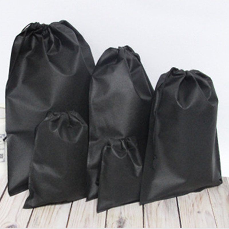 Non-Woven Fabrics Drawstring Bag Sports Convenient Backpack Bundle Pocket Black White Shoes Bag For Men Women Students