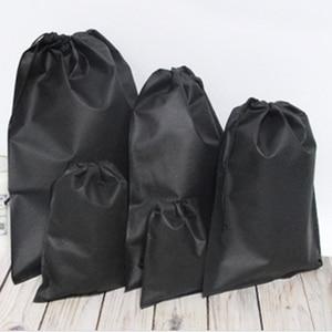 Non-Woven Fabrics Drawstring Bag Sports Convenient Backpack Bundle Pocket Black White Shoes Bag For Men Women Students