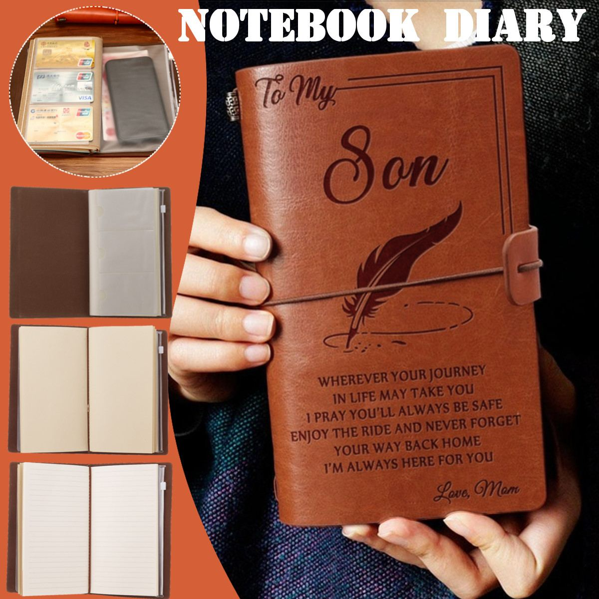 4 Types Engraved Leather Journal Notebook Diary To Daughter/Son/My Man/Wife Engraved Notebook Diary 20x12cm New