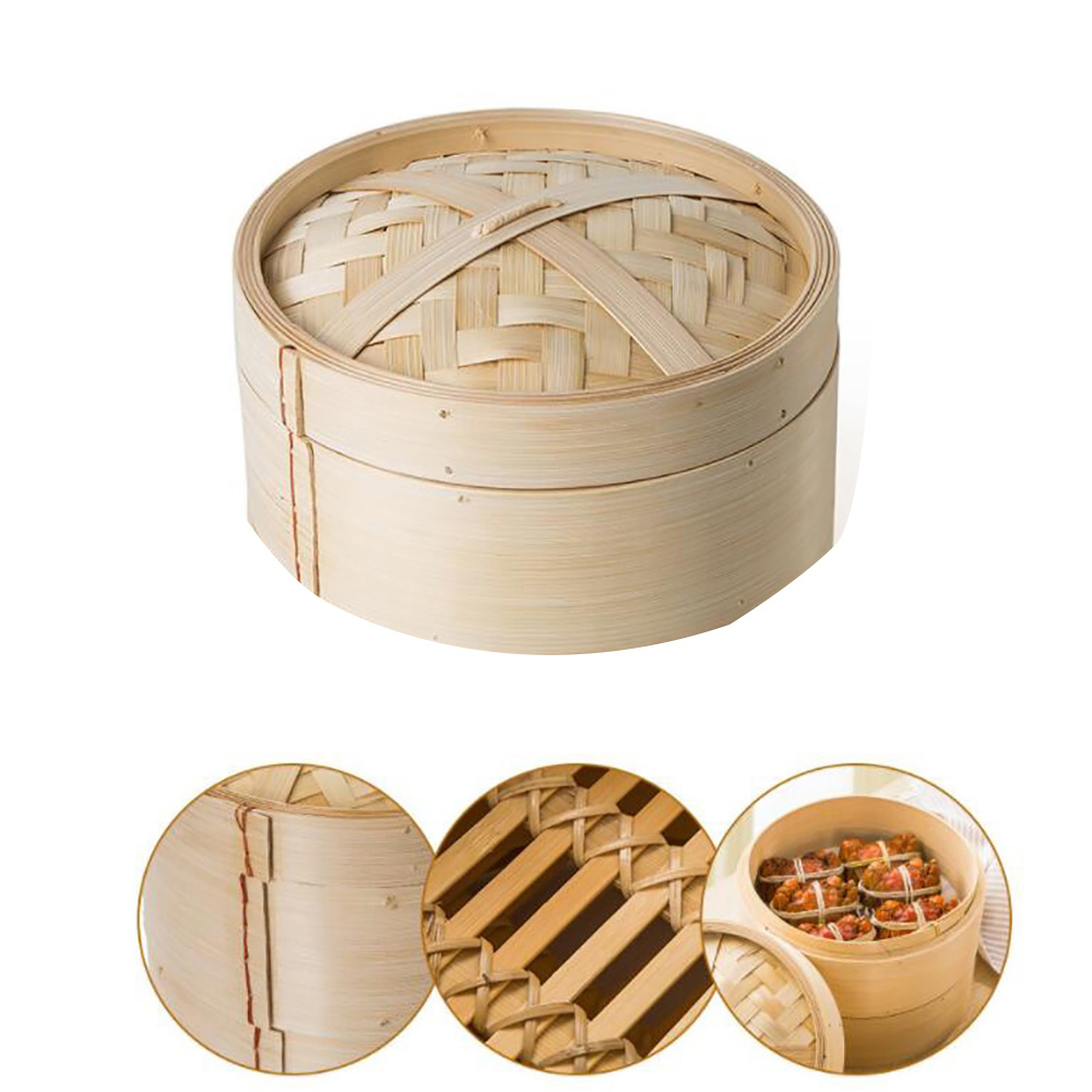 1 Tier Bamboo Steamer Set Durable Cookware Bamboo Steamer With Lid Fish Rice Dim Sum Basket Kitchen Cooking Tools