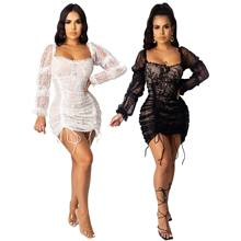 2021 new hot style sexy lace that wipe a bosom smoke plait to bind rope dress fashion long-sleeved hollow-out lace dress