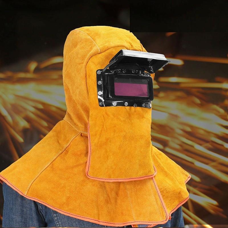 Solar Auto Darkening Filter Lens Welding Hood Welding Helmet Mask Protection Hood Helmet Hat Comfortable Leather