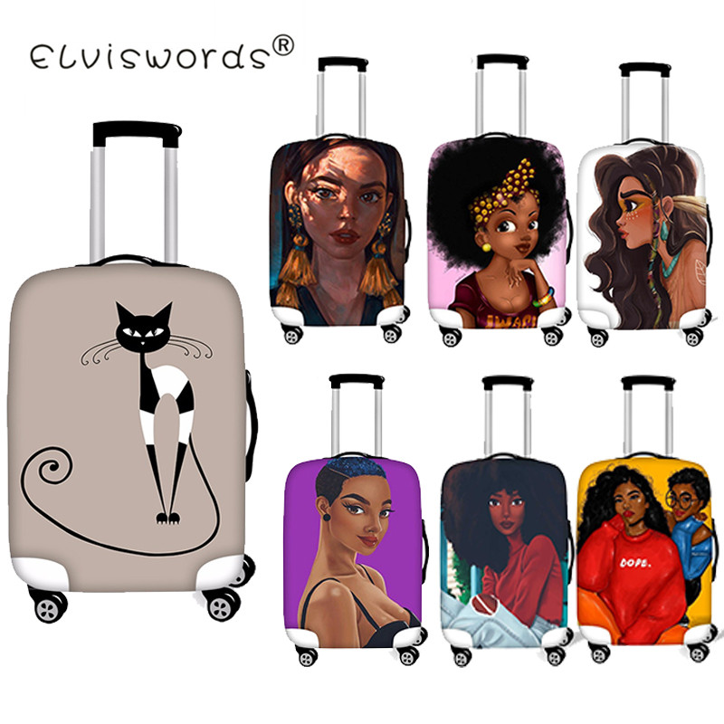 ELVISWORDS Afro Girl Luggage Cover Travel Waterproof Case For Suitcase Luggage Tags Portable Elastic Stretch Protect Suitcase