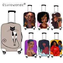 ELVISWORDS Afro Girl Luggage Cover Travel Waterproof Case For Suitcase Luggage Tags Portable Elastic Stretch Protect Suitcase fire and fire series print travel luggage suitcase protective cover stretch waterproof portable luggage covers rain cover