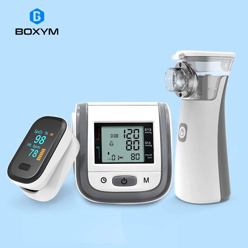 Boxym fingertip oxímetro de pulso & handheld asma inalador nebulizer & lcd pulso pressão arterial família saúde cuidados viagem pacotes