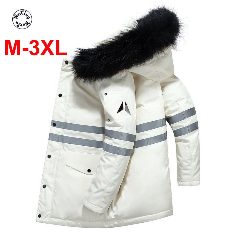 2020 Men's Down Coat Reflective Strip Thickened White Duck Down Medium Length Hooded Down Jacket Fur Collar M To 3XL