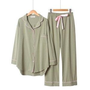 Image 2 - 2020 frühling Und Herbst Neue Frauen Einfarbig Einfache Stil Pyjamas Set Damen Komfort Baumwolle Große Größe Lose Homewear Für femme