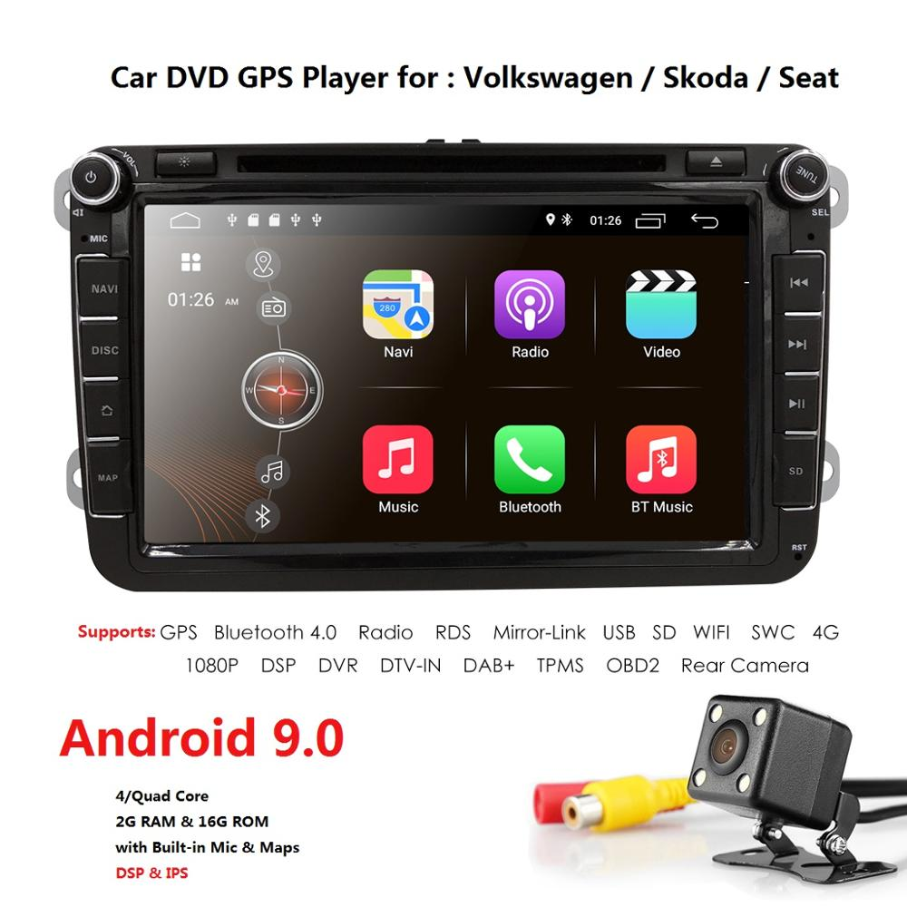 2Din 8 Android9 0 QuadCore Car DVD Player Radio for vw Volkswagen Golf Plus Passat CC