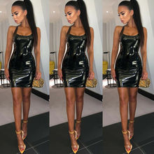 Summer Fashion Women Sexy PU Leather Bandage Bodycon Strap Sleeveless Club Party Short Mini