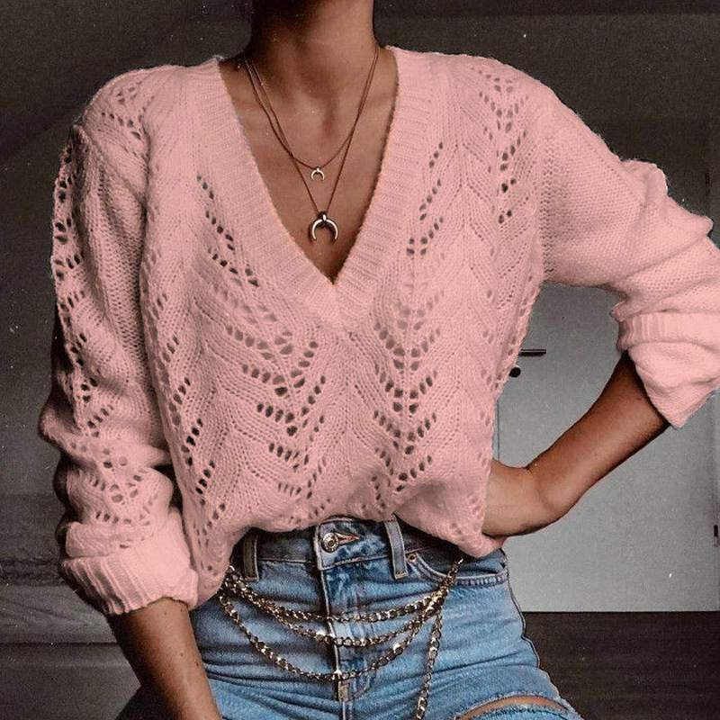 2020 Autumn Knitted Sweaters Women V Neck Long Sleeve Sweater Casual Solid Hollow Out Pullover Female Loose Knitwear Tops Jumper