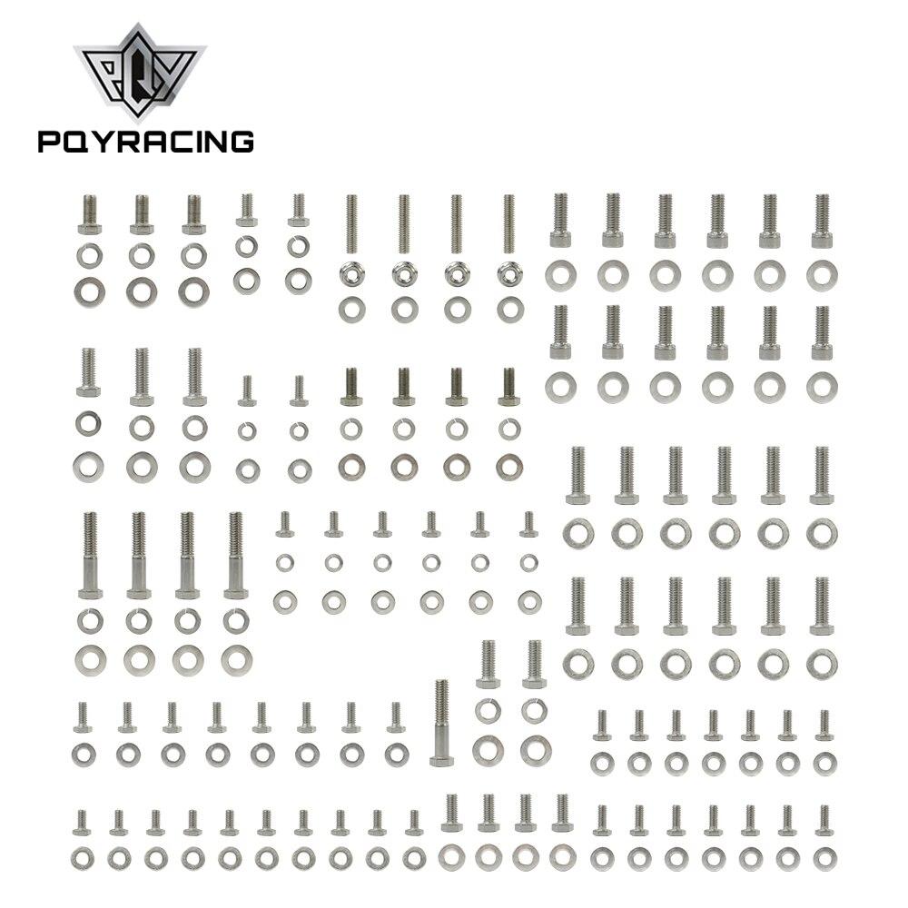 PQY-Inoxydable Petit Bloc Pour Chevy SBC 265 283 302 305 307 327 350 400 Moteur Boulon HEXAGONAL Kit 211 pièces Écrous et Boulons PQY-EMK01