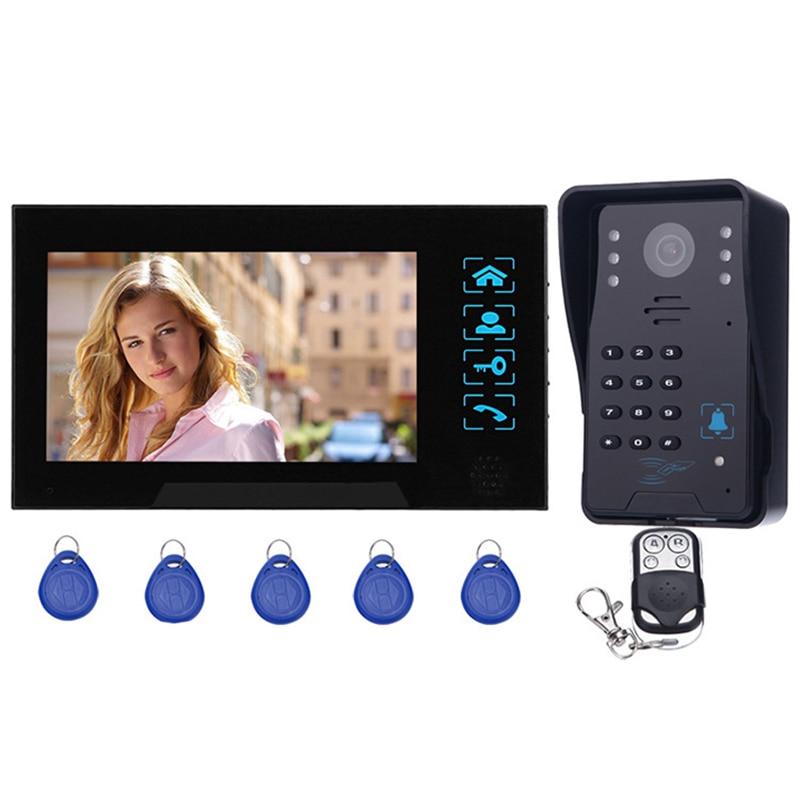 7 дюймов Tft Rfid пароль видео домофон дверной звонок с ИК-камерой 1000 ТВ линия система дистанционного управления доступом