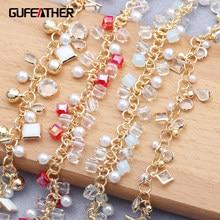 Gufeather c136, acessórios de jóias, corrente diy, 18k banhado a ouro, 0.3 mícrons, feito à mão, pérola de plástico, diy pulseira colar, 50 cm/lot
