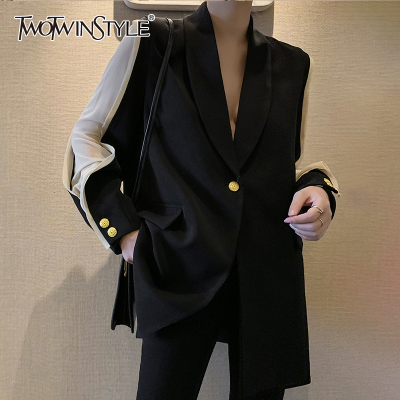 TWOTWINSTYLE 2019 New Autumn Winter Lapel Long Sleeve Hit Color Split Joint Loose Temperament Jacket Women Coat Fashion Tide