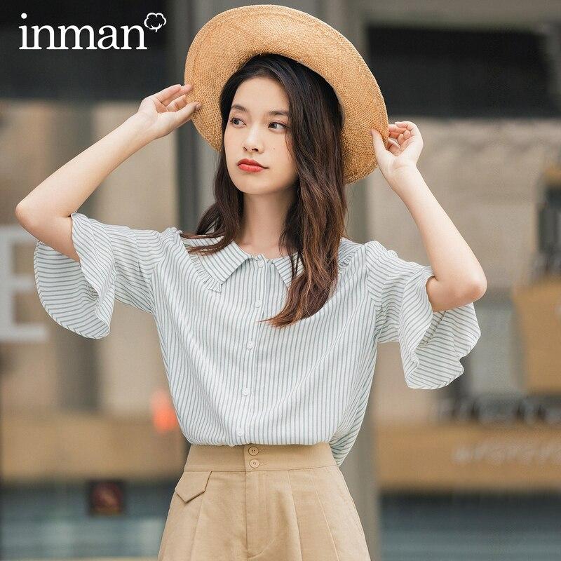 INMAN 2020 Summer New Arrival Slimmed Stripe Half Sleeve Ruffled Sweet Peter Pan Collar Youth Blouse