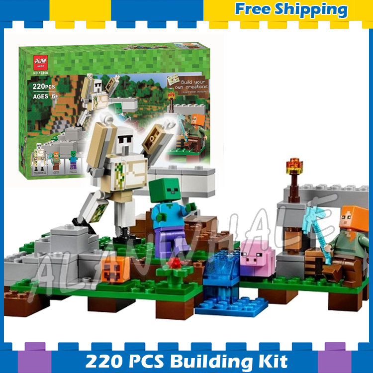 162pcs My World The Iron Golem Baby Pig Landscape 10468 Model Building Blocks Toys Bricks Compatible With Lego  Minecrafted