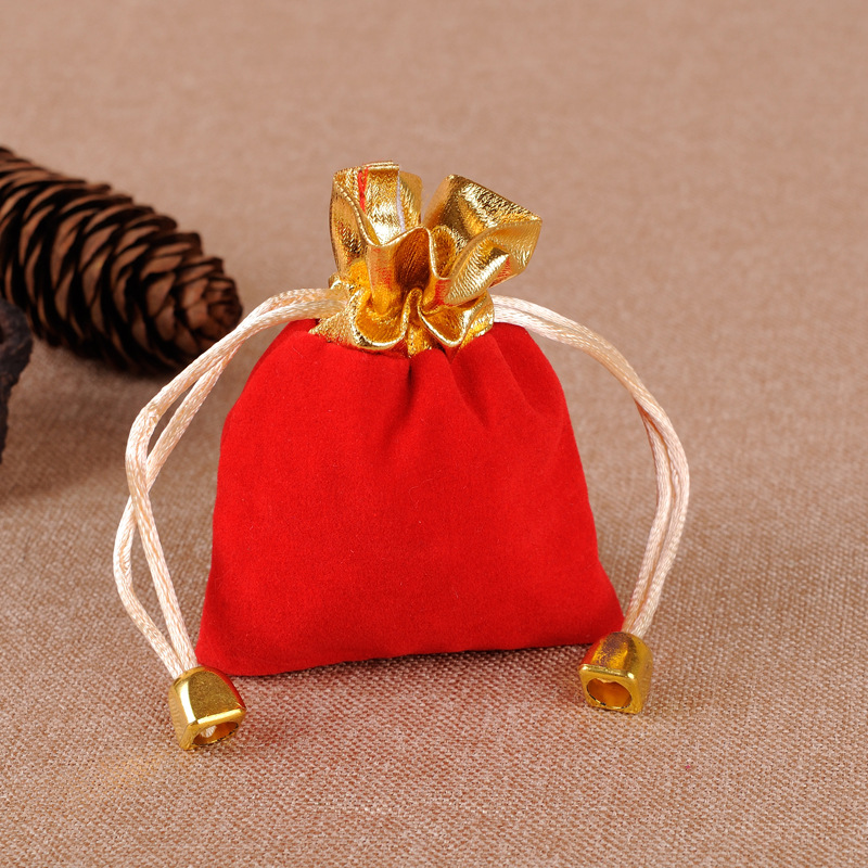 100pcs/lot 7x9cm Gold Opening Christmas Bell Drawstring Velvet Pouches For Jewelry Bags Pearls Beads Storage Packaging Bag