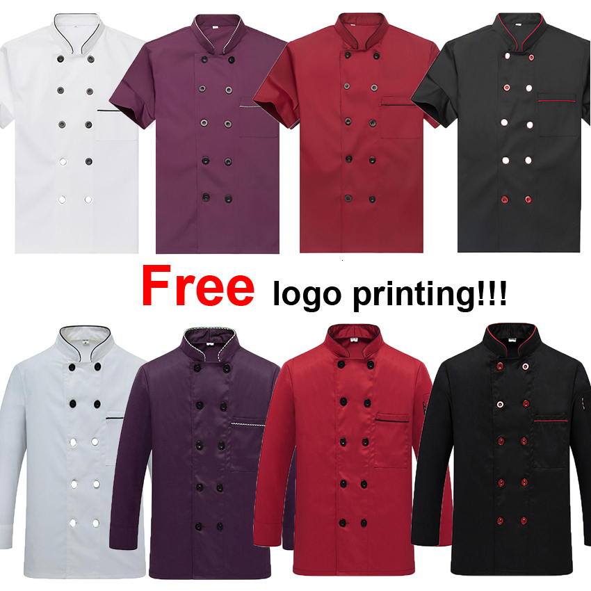 Free Logo Printing Unisex Chef Uniform Food Service Cook Jacket Coat Solid Man Kitchen Restaurant Bakery Clothing Shirt