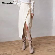 Missufe Spring Autumn Casual Irregular Skirt Women High Waist Solid Color Midi Skirts Female 2019 Fashion Clothing New Femme