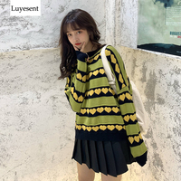 Sweet Heart Women Pullover Sweater 2019 Lady Contrast Color Striped Knit Winter Basic Top Fashion Streetwear Outdoor Jumpers