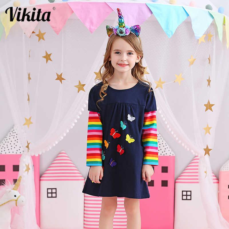 VIKITA çocuk kız elbise bebek çocuk yürümeye başlayan prenses elbise Vestidos çocuk giyim kız sonbahar kış elbiseler 2-8 yıl