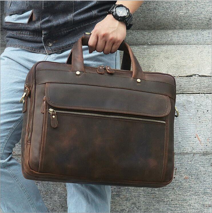 MAHEU Crazy Horse Genuine Leather Handbags Laptop Shoulder Bags 15