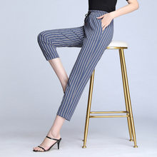 Korean Style Womens Office Pants High Waisted Pencil Pants Women Dress Pants for Women Black White Blue Striped Suit Trousers(China)