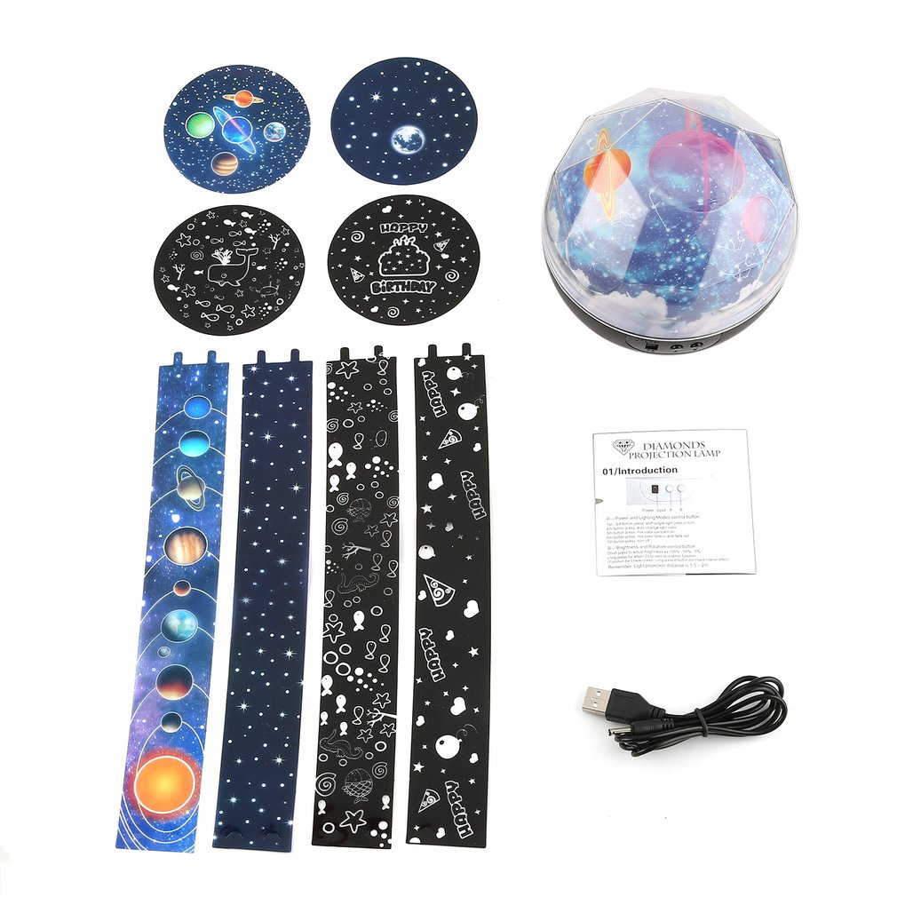 Star Sky Galaxy Projector Night Light Children Kids Bedroom Decorative Lamp 4 Patterns White/ Black Drop Shipping With Video