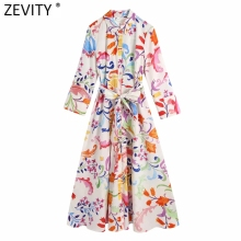 Zevity Women Vintage Totem Floral Print Bow Sashes Midi Shirt Dress Female Chic Three Quarter Sleeve Casual Slim Vestidos DS8361