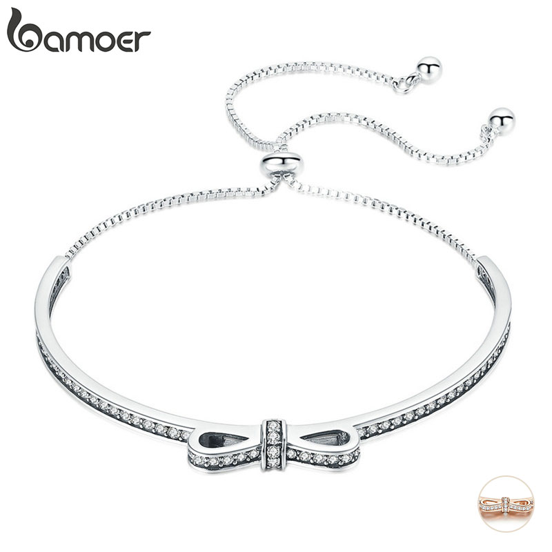 BAMOER High Quality 925 Sterling Silver Bowknot Clear Cubic Zircon Bangles Bracelets For Women Sterling Silver Jewelry SCB108