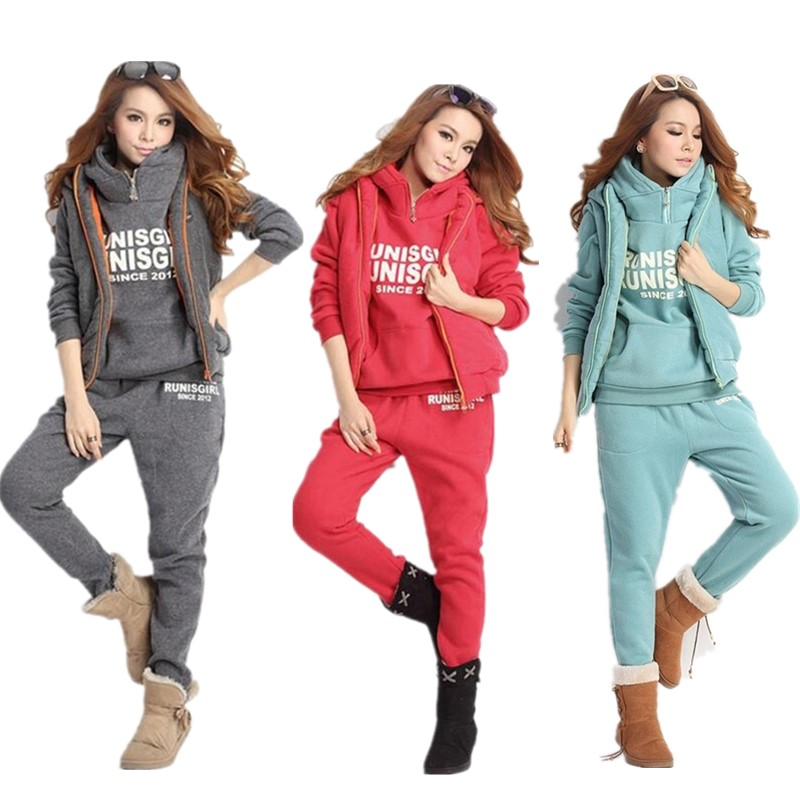 Women Letter Printed Tracksuits Set Plus Size Women Tracksuits Autumn Winter 3 Piece Set Hoodies + Vest + Pants Warm Sport Suit