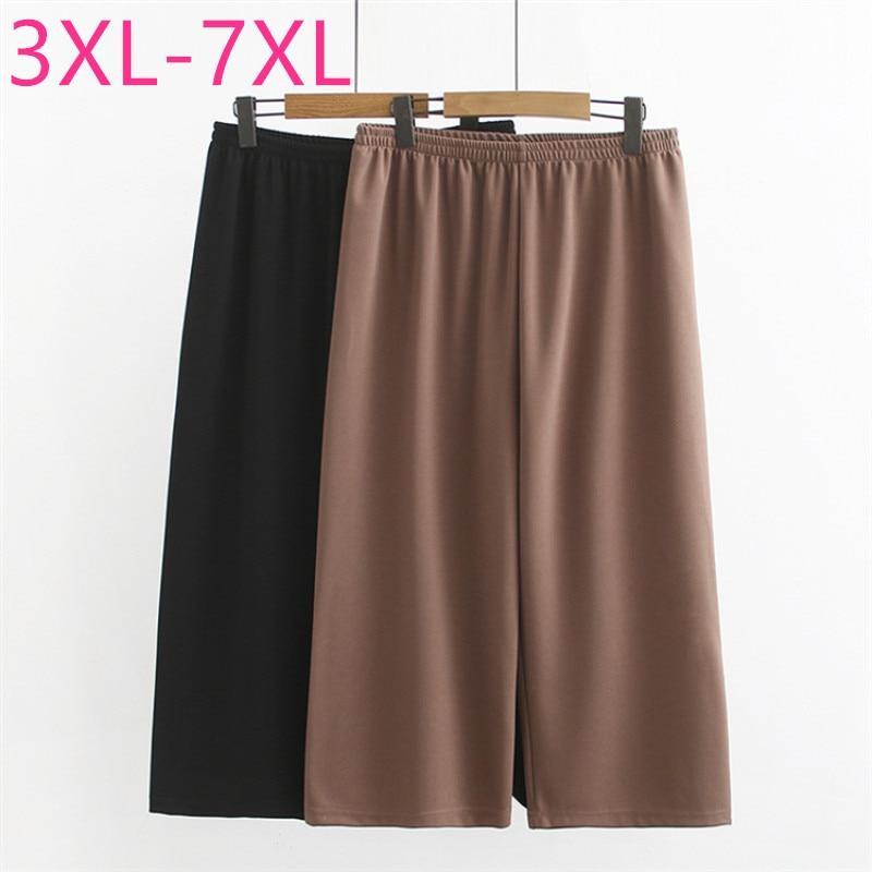 2020 new summer plus size capri pants for women large loose casual elastic short pants khaki black 4XL 5XL 6XL 7XL