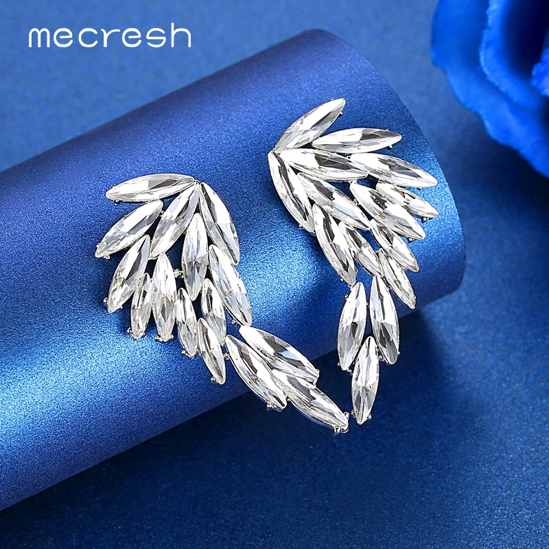 Mecresh Sparkling Leaf Crystal Big Stud Earrings for Women Girls Silver Color Angel Wings Large Bridal Wedding Earrings MEH1632