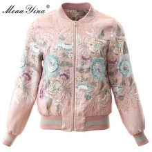 MoaaYina High Quality Fashion Designer Jacket jacket Autumn Women Vintage Floral Beading Casual Elegant Short
