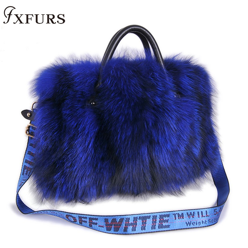 2019 Women Luxury Real Fox Fur Handbags Natural Silver Fur Bags New Fashion Winter New Crossbody Single Shoulder Big Capacity