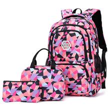 Set di 3 pezzi borse da scuola per ragazze adolescenti zaino da scuola impermeabile zaino borsa da viaggio di grande capacità borsa a tracolla Mochila cheap ZUOKEWEI CN (Origine) NYLON zipper Backpack 0 94kg 48inch Plaid 0785s Unisex 24inch 33inch
