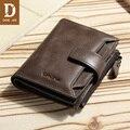 Мужской винтажный кошелек DIDE  из натуральной воловьей кожи  с молнией  вместительный кошелек кофейного цвета и цвета хаки