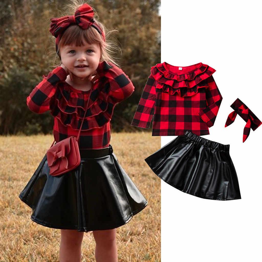 2 個新ファッションガールズキッズ赤チェック柄長袖シャツトップス革 PU スカート秋スタイリッシュな子供衣装服セットは秋