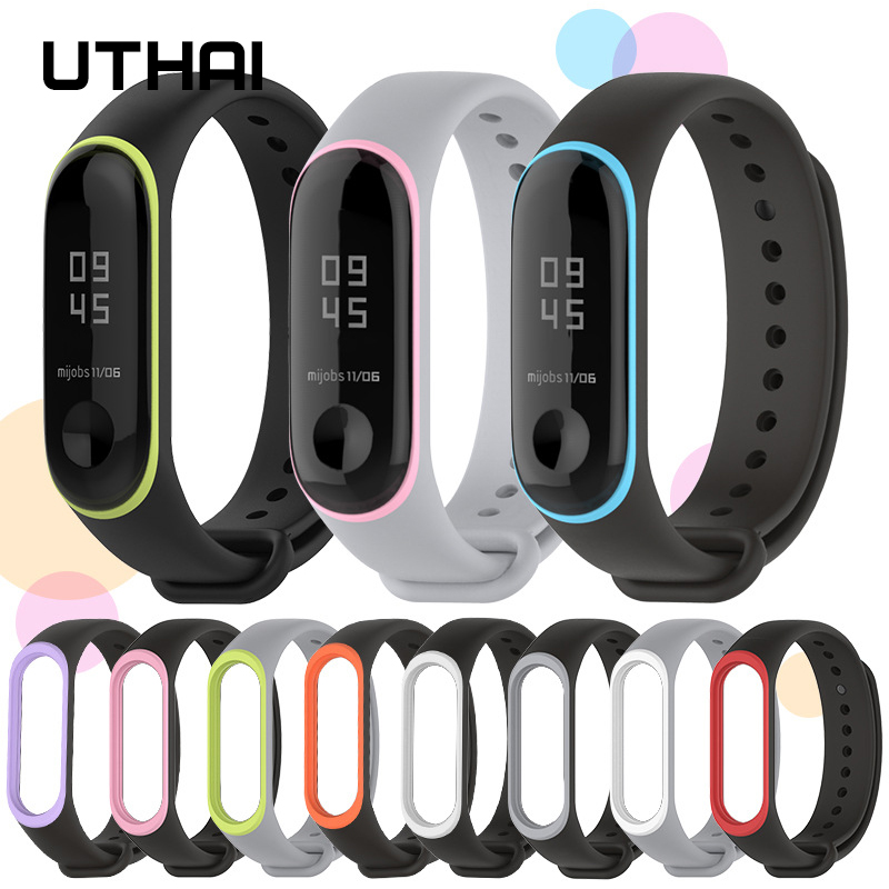 UTHAI P44 Bracelet For Xiaomi Mi Band 3/4Two-tone Sports Silicone Strap Xiaomi Mi Band 4