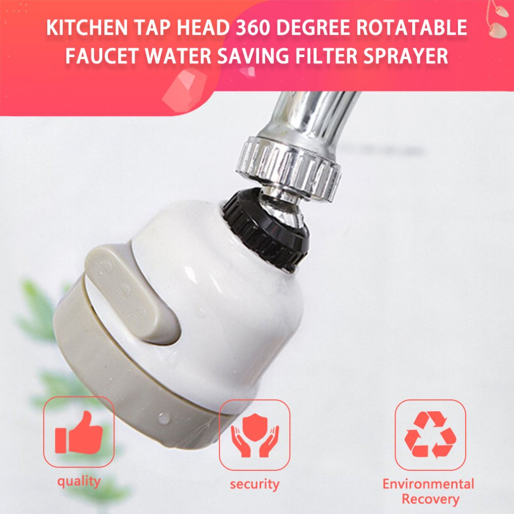 Moveable Kitchen Tap Head 360 Degree Rotatable Faucet Water Saving Sprayer Lightweight Home Accessories
