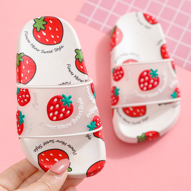 Cartoon Fruit Slippers For Kids New Summer Girl Beach Shoes Baby Toddler Soft Indoor Bathroom Slippers Flip Flops Kids Slipper