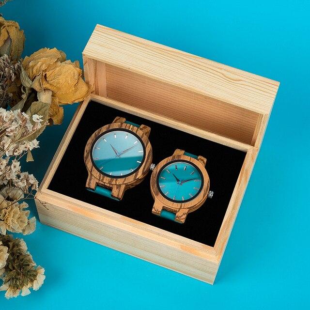 Relojes de madera hombre mujer para regalo parejas caja personalizada 5