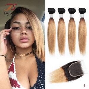 Image 2 - Bobbi Collection 4/6 Bundle avec fermeture 50g / pc Cheveux blonds châtains brésiliens avec fermoir en dentelle Cheveux humains droits et remy