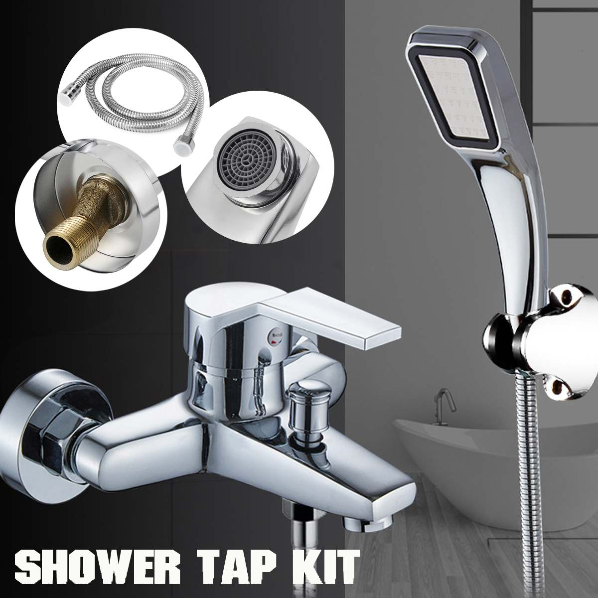 Becornce Bathtub Faucet Bath Faucet Mixer Tap Wall Mounted Hand Held Shower Head Kit Shower Faucet Sets Bath Water Mixer image