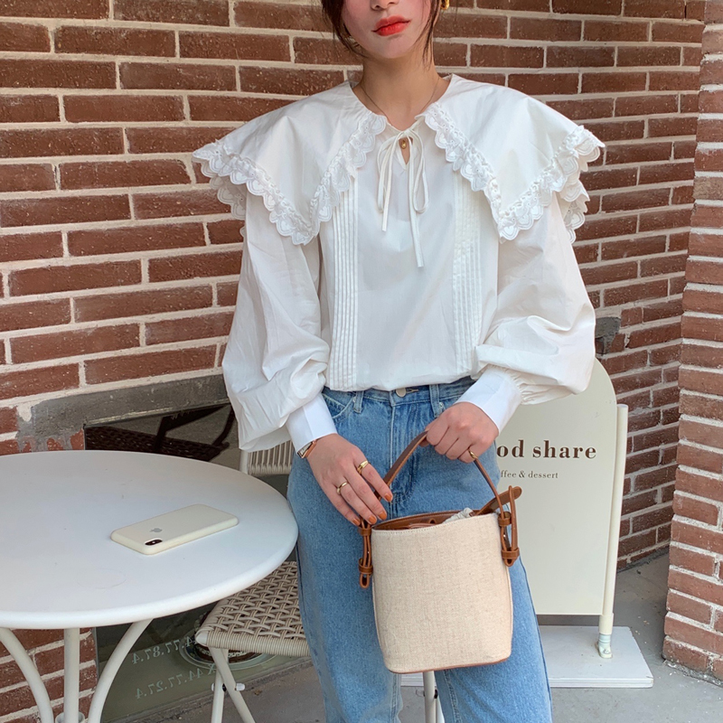 Hd1ef81dfc053403eadf7b75a7fe2b5adQ - Spring / Autumn Lace-Up Collar Long Sleeves Loose pleated Solid Blouse