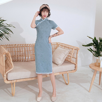 2020 New Mid-Length Cheongsam Chinese Style Fresh And Improved Dress Slim Daily Stretch Cotton Cheongsam традиционное китайское платье brand new peking cheongsam ccw005
