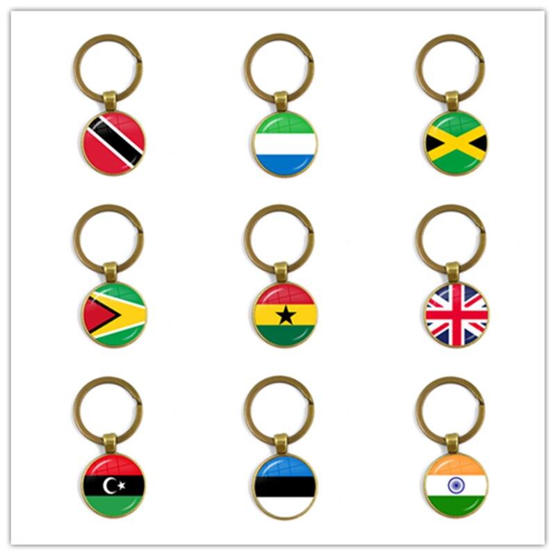 Trinidad,Sierra Leone,Jamaica,Guyana,Ghana,UK,Libya,Estonia,India 25mm Glass Cabochon National Flag Keychain Key Ring Gift