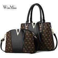 2 uds. Juego de bolsos para mujer, bolso de mano de cuero, de diseñador, bolso grande de hombro para mujer